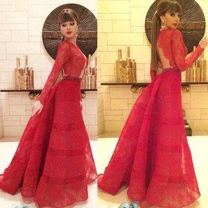 Cantor Myriam Fares Red Carpet Celebrity Dresses Mangas Compridas Backless Jewel Pescoço A Linha Até O Chão Vestidos de Festa À Noite