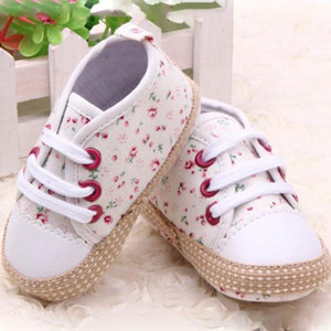 Wholesale- Newborn Girls Sneakers Toddler Soft Sole Shoes Anti-slip Prewalker Infant Baby Shoes Flower 2016 First Walkers Casual Shoes