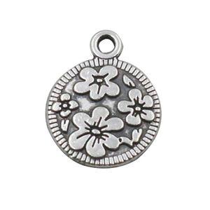 Античный посеребренные цветы поднял круглые прелести для проволоки браслеты AAC725