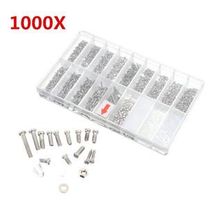 1000pcs óculos Sunglass Spectacles Screws Kit de reparação de porca com uma caixa de plástico