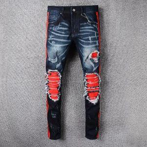 Hiphop famosa popular de la vendimia Distrressed apliques rasgado motorista de la motocicleta de la cremallera pantalones de carga de los hombres de los pantalones vaqueros de los hombres Vaqueros Hombre más tamaño 40
