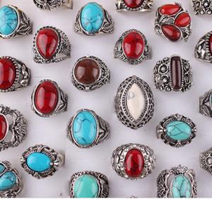 رجل الأحجار الكريمة الفيروز خاتم خمر للجنسين الشظية مطلي أسود أزرق أحمر الألوان أنماط متباينة حرية الملاحة