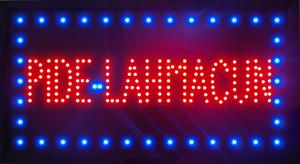 2015 Ultra Bright LED Neon Light Animated PIDE LAHMACUN signe des slogans accrocheurs taille semi-extérieure 48cm * 25cm Livraison gratuite