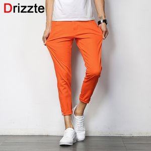 Wholesale- Drizzte Mens British Style Slim Chino Soft Denim Stretch Ankle Pants Orange Blue Grey 32 33 34 36
