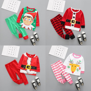 Christmas Baby Clothes Kids Xmas Elk Pajamas Sets Striped Santa Claus Suits Cotton Tops Pants Outfits Cartoon Long Sleeve Clothing
