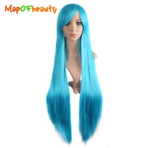 Mapofbeauty 40 pulgadas de largo recto cosplay pelucas oblicuo Bangs traje de dibujos animados papel peluca blanco azul rosa negro peluca sintética pelo