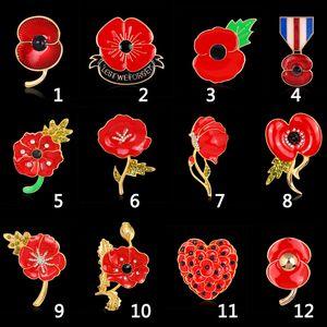 Spilla per le donne 12PCS / LOT all'ingrosso rosso cristallo strass papavero spille pins Regno Unito giorno della memoria spille di Natale