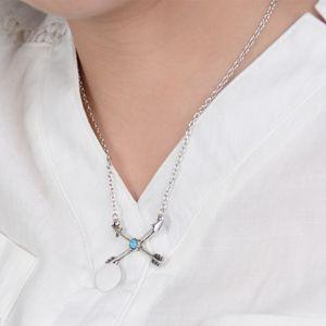 Новая мода богемный стиль посеребренная бирюзовая стрелка кулон ожерелье для женщин ювелирные изделия