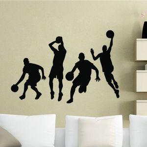 4 Баскетболисты Стены Наклейки Для Детей Спальня Декоративные Наклейки Спорт Наклейки На Стены Винил Клей Обои