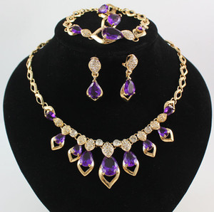 Insiemi dei monili 18K oro placcato gemma ciondolo in cristallo collana braccialetto orecchino anelli festa di matrimonio set 3 colori Scegli