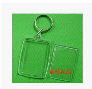 "Wholesale-100pcs Blank Acrylic Rectangle Keychains Insert Photo Keyrings (Key ring chain)2""x 1.25"",plastic photo frame keychain"