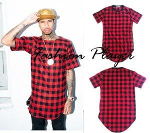 Yaz Hip Hop Kırmızı Kareli pamuk pazen tişörtleri erkekler için / Altın Fermuar Taraf Tees Uzatmak Arc Hem Rahat ekoseli Erkek T Shirt M-3XL