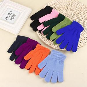 Сплошной цвет зимние перчатки трикотажные теплые полный палец варежки дети конфеты цвет перчатки милый студент перчатки 9 цветов 2 шт./пара OOA3782