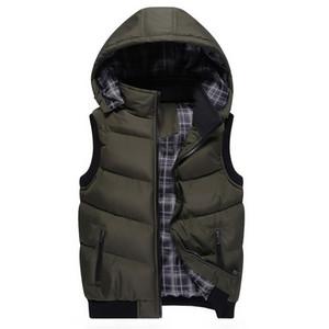 Осень - классический мужской хлопок мягкий с капюшоном теплый сгущаться куртка пальто фугу жилет пиджаки