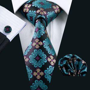 Stylish Dark Green Mens Silk Tie Pocket Square Cufflinks Neck Tie Set Jacquard Woven Formal Work Meeting Leisure N-0329