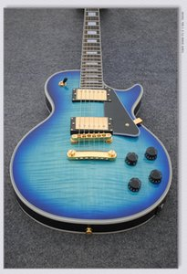 Agradável Venda Quente LP personalizado guitarra elétrica tigre azul listrado maple cover real guitarra fotos direto da fábrica de alta qualidade frete grátis
