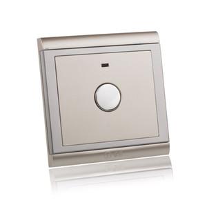 AC 220 V ~ 250 V Champanhe Painel de Ouro Interruptor de Toque 2000000 Tempo de Vida Retardador de Parede Atraso Tempo Interruptor de Luz com LED indicador de ordem $ 18no trac