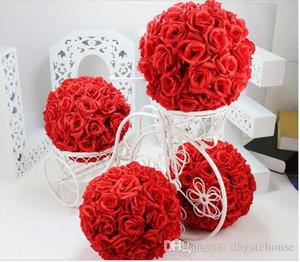 """10 """"25 cm Élégant Thème De Mariage Roses Artificielles Boules De Fleurs Suspendu Embrasser Ball Artisanat Ornement Pour La Décoration De Partie"""