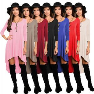 Kadınlar Asimetrik Mini Elbise Akşam Parti Gömlek Elbise Uzun Kollu Tunik Düzensiz Elbiseler Tops Casual Gevşek Elbise OOA3821
