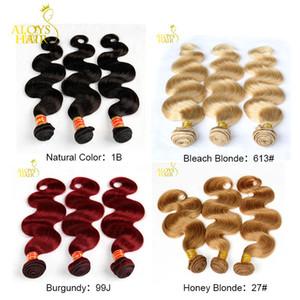 Бразильские волосы девственницы объемная волна 3шт натуральный черный / медовая блондинка 27 # / отбеливающая блондинка 613 # / бордовый красный 99J пучки человеческих волос с двойным уток