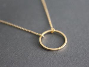10 PCS-N020 Simples Dainty Círculo Colar Círculo Aberto Contorno Colar eternidade karma círculo rodada colar de jóias