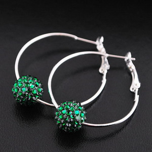 Top Grade Fashion Silver Earrings Hot Sale Crystal Shambhala Hoop Huggie Earring for Women Girl Jewelry Wholesale Free Shipping - 0031DR