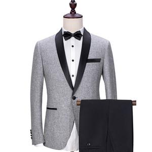 Grau Hochzeit Bräutigam Smoking 2018 Schwarz Schal Revers Trim Fit Herren Anzüge Nach Maß Business Party Groomsmen Anzug (Jacke + Pants)
