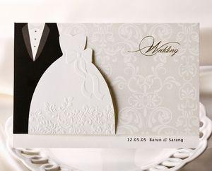 Convites de casamento personalizados cartões tradicional smoking dress noivo da noiva projeto diy convites de casamento cartões com página em branco para impressão