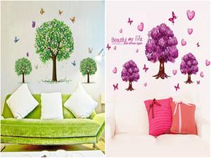 DHL EMS adesivos de parede berçário de árvore Ordem Da Mistura Removível PVC flor de borboleta decalques de parede home decor bebês decalques de parede papel de parede arte da parede