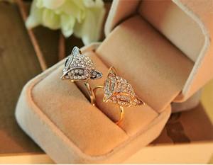 Güzel Kristal Fox Parmak Yüzük Kadınlar Kızlar Parti Takı Aksesuar Ayarlanabilir Altın Tam Yapay elmas Fox Halkalar Doğum Hediye kaplama