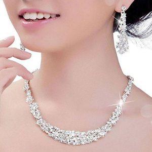 gelin Nedimeler kadınlar Gelin Aksesuar ucuz Kristal Gelin Takı Seti gümüş kaplama kolye elmas küpe Düğün takı setleri
