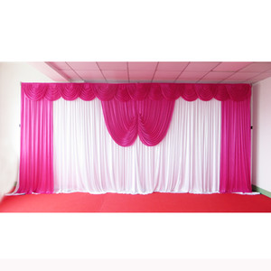 1PCS MOQ 3m*6m Ice Silk Fabric High Quality White Backdrop & Colorful Swag Drape Curtain For Wedding Use