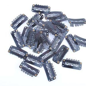 Pinzas para el pelo Barrettes Clip de presión negro para la extensión del pelo de la trama de la peluca 32mm Uso fácil para decorar las herramientas para el cabello Joyería del pelo Clips negros