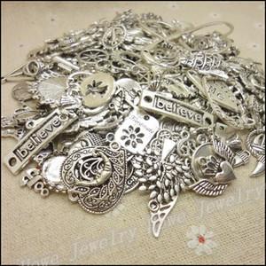 bilezik kolye takı yapımı için 200g Alaşım kolye DIY Karışık Yeni Tasarım Sıcak 70-150 adet Vintage Antik Gümüş çekicilik