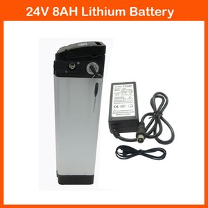 24V 350W battery 24V 8AH Eliectric bike lithium battery with Silver fish case 29.4V 2A charger and BMS Top discharge
