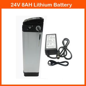 Batería de 24V 350W Batería de litio para bicicleta 24V 8AH Eliectric con funda Silver Fish Cargador de 29.4V 2A y descarga superior BMS