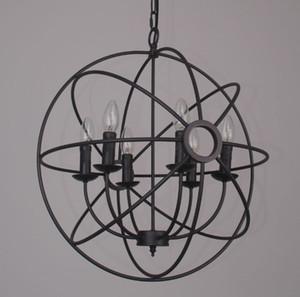 펜던트 FOUCAULT 'S IRON ORB CHANDELIER RUSTIC IRON 로프트 라이트 RH 조명 빈티지 펜던트 램프 50cm 65cm