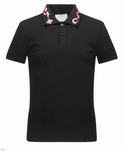الربيع الفاخرة إيطاليا t-shirt قمزة بولو شارع العليا قبالة whtie التطريز الرباط الثعابين القليل النحل الطباعة أزياء ماركة الملابس قميص بولو