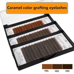 Newest 3-color caramel grafting false eyelashes natural thick soft single root planting eyelash light brown   dark brown   black brown J-B-C
