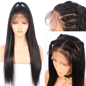 130% Density Full Lace Human Hair Wigs natural color Remy Hair Indian Straight Lace front Wigs Pre Plucked Natural Hairline