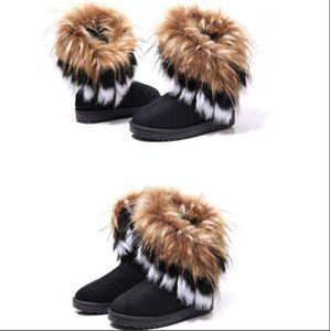 Обувь 2015 осень зима теплая высокие длинные снегоступы искусственный лиса мех кролика кожа кисточкой женская бесплатная доставка