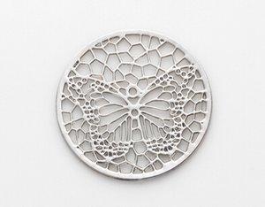 20 pz / lotto argento farfalla rotonda cava galleggiante medaglione piatti misura per 30mm vetro magnetico memory locket moda gioielli