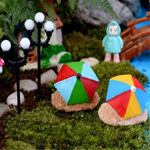 2PCS Moss Micro Landscape Beach Umbrella Assembly DIY Toys Resin Crafts Figurines Fairy Garden Decoration