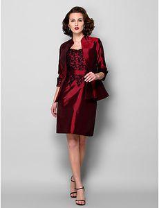 New Arrival Free Shipping Elegant Sheath Column Mother of the Bride Dress With Jacket Burgundy Knee-length 3 4 Length Sleeve Taffeta