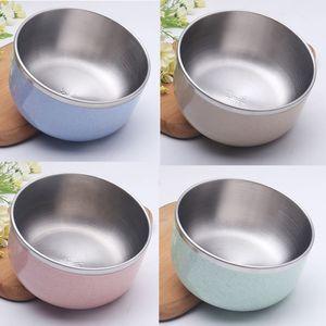 304 Edelstahl Kinderreisschüssel - Kleine doppelwandige Weizenstrohschüsseln für Nahrungsmittelsalat Fruchtsuppe Nudelschüsseln