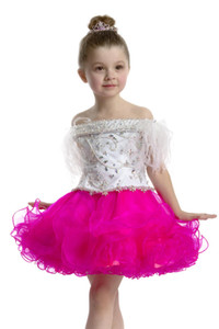 2015 New Arrival Off Shoulder Plume Embroidery Organza Cupcakeant Dresses Toddler Lace up Birthday Party Dresses Above Knee Prom Dresses