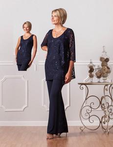 Elegantes tres piezas de encaje de la madre de la novia Trajes de pantalón con chaqueta de encaje Lady Women Trajes formales para bodas vestidos longos Party
