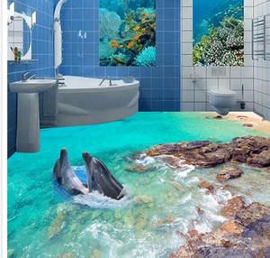 Foto personalizada papel tapiz 3D estereoscópico 3D Dolphins piso 3d mural PVC papel autoadhesivo piso wallpaer 20157029