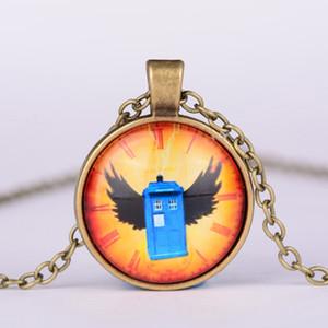 Doctor Who cam cabochon kolye Doctor Who kolye kolye doktor kim polis kutusu tardis kolye, tardis takı Ücretsiz DHL W818