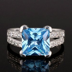 Elegant Princess Cut Stone Blue Topaz 925 Sterling Silver Rings for Women Fashion Wedding Jewelry Best Gift for Girlfriend R026
